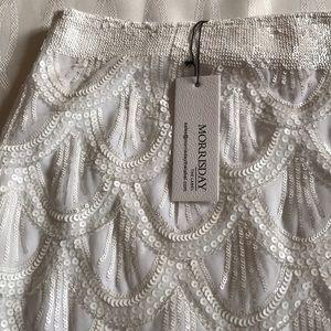 d5913b319d morrisday Skirts | Nwt White Beaded Mini Skirt Size 12 | Poshmark